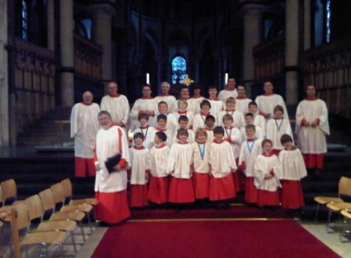 Boys and men choir of St Leonard's Church, Hythe (A)at Canterbury Cathedral, Easter 2011